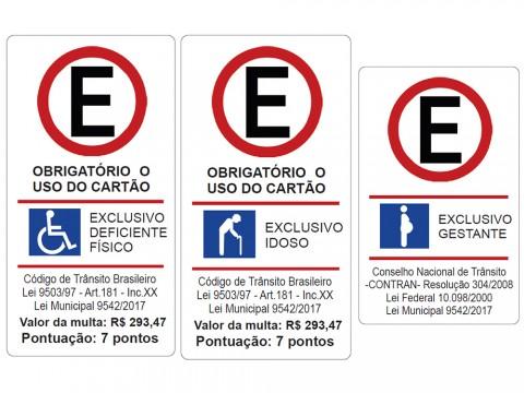 Projeto padroniza placa sobre cartão obrigatório em vagas de estacionamento exclusivas